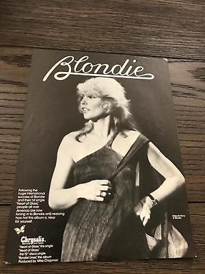 1979 Vintage 8X11 B&w Promo Print Ad For Blondie Album Deborah Harry Of Blondie
