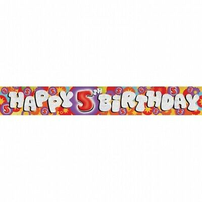 """Holographic 2.7 metres long """"Happy 5th Birthday"""" Banner Party Room Decoration"""
