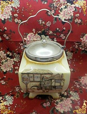 Vintage Lancaster & Sandland Biscuit Barrel Jar  'the Jolly Drover' Yeoman Plate