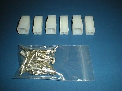 """4 Pin Molex Connector Kit 3 Sets, w/14-20 AWG .093"""" Pins Free Hanging 0.093"""" 2x2"""