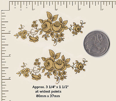 """2 x Waterslide ceramic decals GOLD Roses Flowers Floral 3 1/4"""" x 1 1/2""""   P58"""