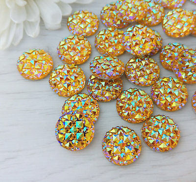10/50pc - 12mm Yellow Resin Cabochons - Iridescent Jewelry Quality Cabs FBC112