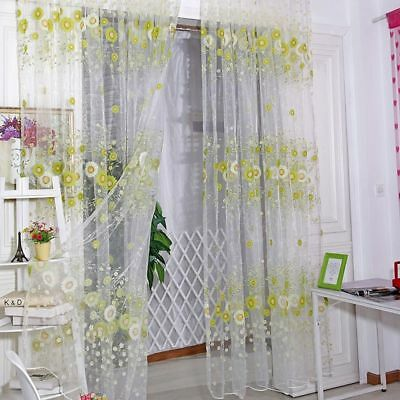 Sheer Scarf Decor Tulle Living Room Pattern 1*2 M Sunflower Voile Curtains