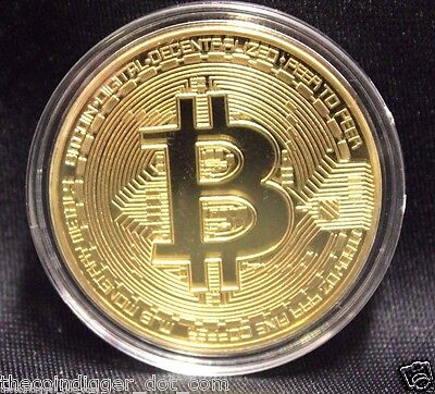 BTC Gold Plated BITCOIN 1oz Copper Coin Round In Capsule USA Seller & Miner ✯