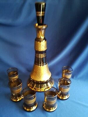 Vintage Retro Fantastic Gold Embossed Glass Decanter With 6 Glasses