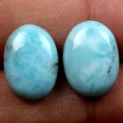 14.5 Cts Real LARIMAR Gemstone 1 Pair Oval Cabochon 15x11 mm For Earring S16926