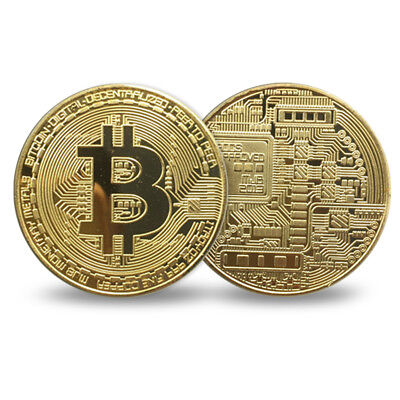 5 PCS Gold Plated Bitcoin Collectible Iron Coin Commemorative Round Collectors