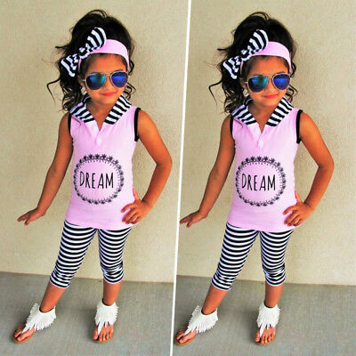 3Pcs Kids Baby Girl Hooded Top T-shirt Pants Stripes Leggings Outfit Clothes USA