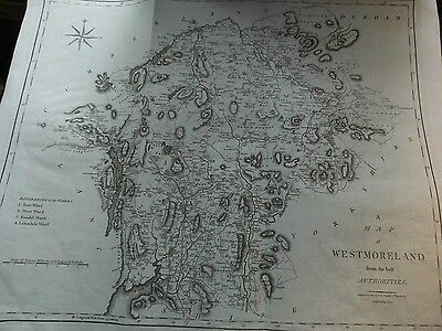 """Westmorland, Antique Engraved Map. """"From The Best Authorities""""- John Cary 1805"""