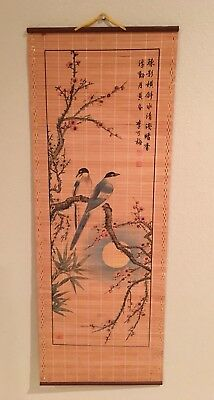 asian vintage bamboo scroll hand painted birds and flowers wall hanging,marked