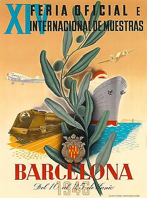 1946 Barcelona Spain Spanish European Vintage Travel Advertisement Poster