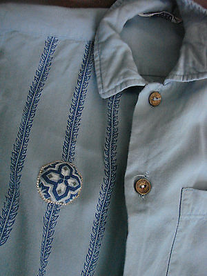 Vintage 50s 60s Childs Boys RAYON Shirt MEDALLION FC Blue 9-10 Novelty SEARS