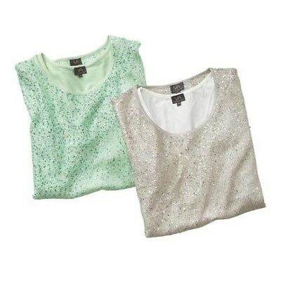 Donna TWINSET maglia BRILLANTINI Pullover INFERIORE TOP AL DI SOTTO DAVIDE 36 38