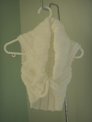 NEW Made in UK Handmade ~1-2 yo Aran Ballet Shrug Tie front Lacy Knit White