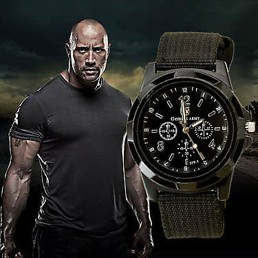 2015  Famous  Men Quartz Watch Army Soldier Military Canvas Strap Fabric Anal...