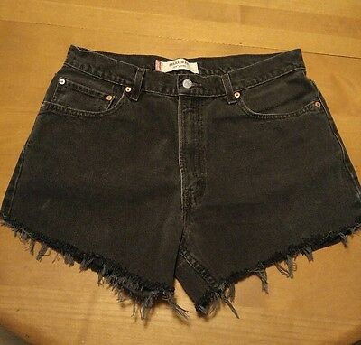 Levis 550 Cut off Shorts 32 in. Waist High Waist Black Denim Grunge Festival