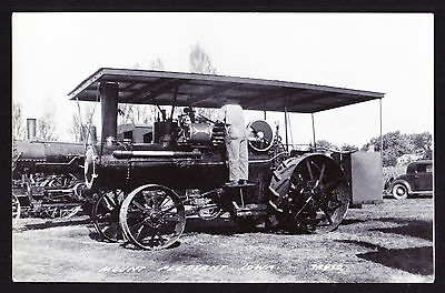 Real Photographic Postcard RPPC Mount Pleasant IOWA Early Steam Engine Tractor