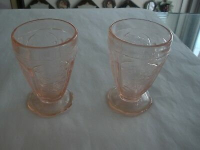 "Jeanette Pink Cherry Blossom 4 1/4"" Scallop Footed Tumblers  (2)"