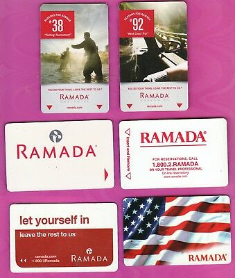 """HOTEL """"RAMADA""""  SET of 6 DIFFERENT ROOM PLASTIC KEY CARDS (USA) for collection"""