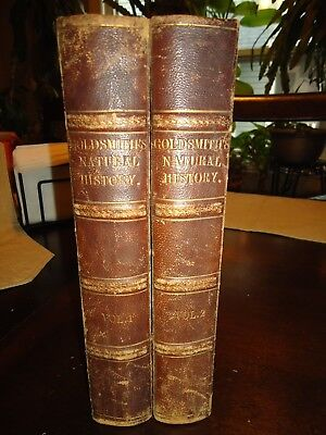 Goldsmith's Natural History- 1848 2 Vols. 60+ Hand Colored Plts.