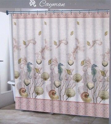 Traditions CAYMAN Fabric Shower Curtain Sea Shells Seahorse Blue Cream New
