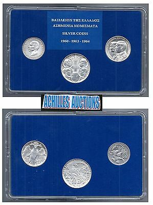 Greece. 20 & 30 Drachmai 1960-1964 XF-AU Greek Kings 1863-1973 3 Silver Coins N2