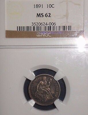 1891 10C Liberty Seated Dime NGC MS62  ~REAL NICE COLORS~