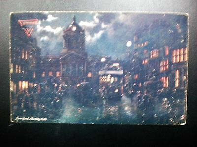 """Db """"oilette"""" Postcard View Of The City Hall At Night, Liverpool, England, 1900's"""