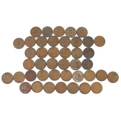 Collection of Canadian One Cent Coins 1920-1952