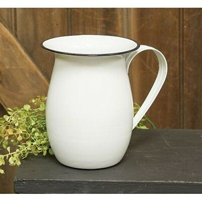 White Enamel Vintage Style Pitcher Country Cottage Vase Pot