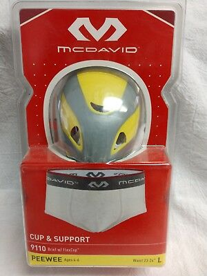 """9110 Brief w//FlexCup-Peewee L 23-24/"""" Ages 4-6 G 12 Mcdavid Cup /& Support"""