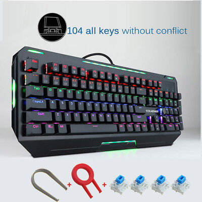 104 Keys Mechanical Cool Gaming Keyboard 9-Mode RGB Backlight and Blue Switches