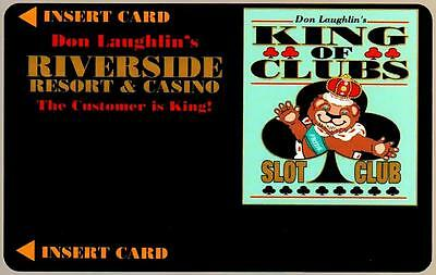 RIVERSIDE CASINO hotel*KING OF CLUBS style#1*VINTAGE BLANK~ slot/players card