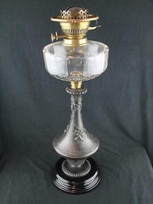 Antique Statuesque Oil Lamp Base, Burnished Metal, Cut Glass Font, Hinks Burner