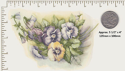 """1 x Waterslide ceramic decal Flowers Floral Pansies Bunch Approx. 5 1/2"""" x 4"""" B6"""