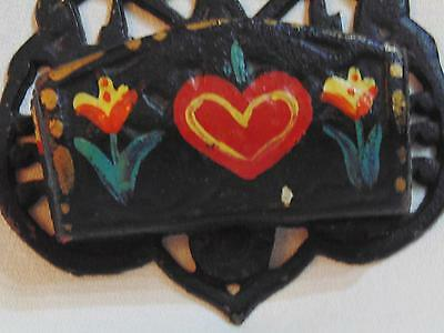 Antique Match Holder Safe Cast Iron Wall Mount Painted Hearts Flowers Wilton ?