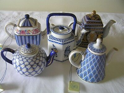 Special Edition Blue & White Miniature Teapot Collection Set of 5