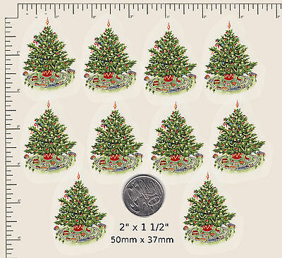 """10 x Waterslide ceramic decals Decoupage Christmas Tree Approx. 2"""" x 1 1/2"""" PD42"""