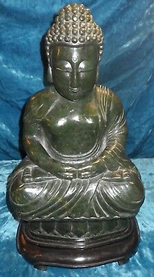 """Antique Spinach Jade Chinese 17"""" Buddha 49 Pounds Green Jadeite Seated Lotus"""