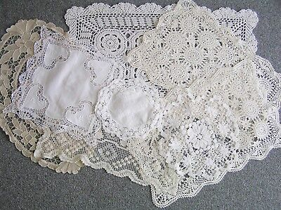 Vintage Bulk Lot Cream & White Doilies Centre Pieces