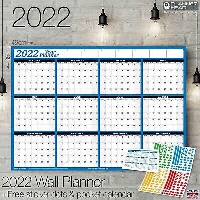 2019 Yearly Planner Annual Year Wall Chart BLUE & a FREE 2 Year Desk Calendar