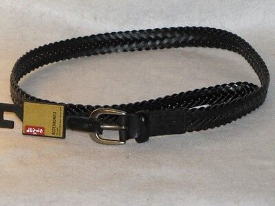"New Boy's Black Leather Braided LEVI'S Belt, Sz X-Small 19"" - 21"",  Med 26""-28"""