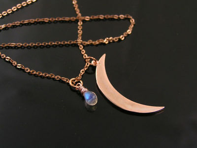 Rose Gold Necklace with Crescent Moon and Rainbow Moonstone, Handmade