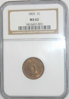 1863 1C Indian Cent PNGC MS62  ~REAL NICE RED-BROWN UNDERTONE~