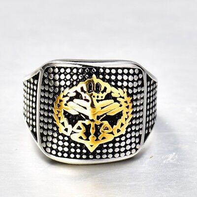 Mens Charms Gold&Silver Tone Stainless Steel Heavy Biker Rings Celtic Thumb Band
