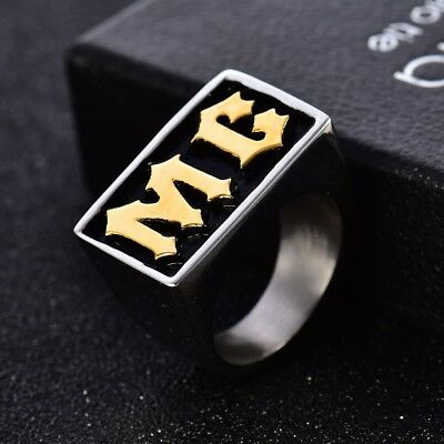 Mens Vintage Silver&Gold Tone Stainless Steel MC Biker Rings Thumb Band Sz8-13