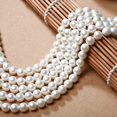 """Genuine 6/8/10mm Natural White South Sea Shell Pearl Loose Beads 15"""" C1356"""