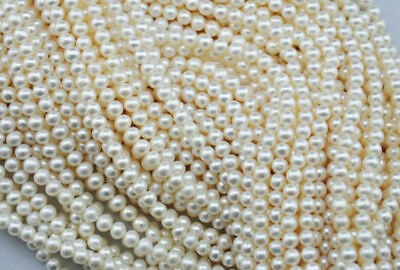Natural 4-5mm White Freshwater Real Pearl Loose Beads 15'' Strand