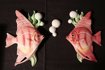 LOT x3 VINTAGE PINK ANGELFISH+1 BUBBLES BY LEFTON JAPAN ORIGINAL TAG WALL PLAQUE