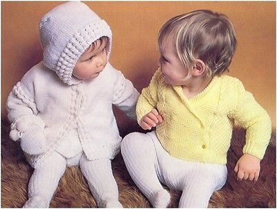 Baby's DK Hooded JacketMitts 4Ply DoubleBreasted Cardigan Knitting Pattern 10080